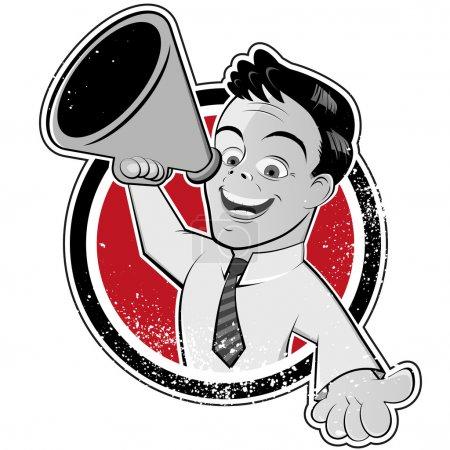 Illustration pour Homme mégaphone vintage - image libre de droit