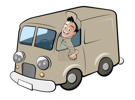 Illustration for Funny cartoon deliveryman - Royalty Free Image