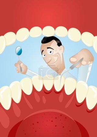 Illustration pour Drôle de dessin animé dentiste - image libre de droit