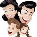 Retro cartoon family
