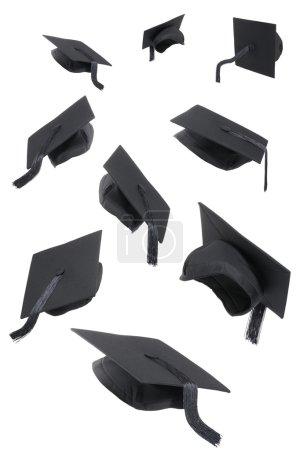 Graduation Caps On White
