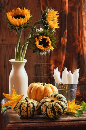 Photo for Rustic interior still life with sunflowers and gourds - Royalty Free Image