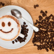 Cappuccino coffee with smiley face on wooden table...