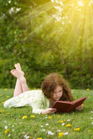 Photo pour Jeune fille lisant un livre en plein air en été - image libre de droit