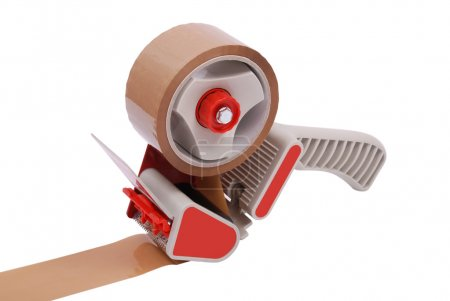 Tape gun loaded with brown packing tape on white background