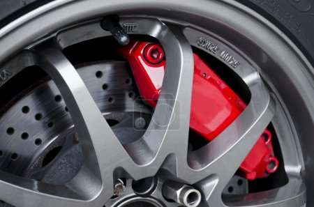 Close up of sport brake on a fast car...