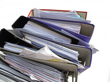 Photo for Stack of messy file folders - Royalty Free Image