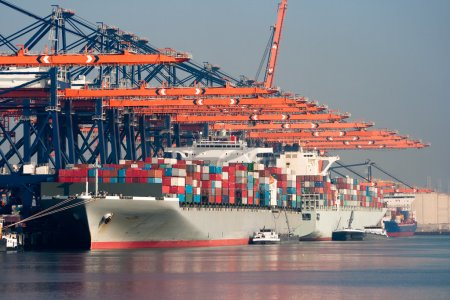 Harbor container ships