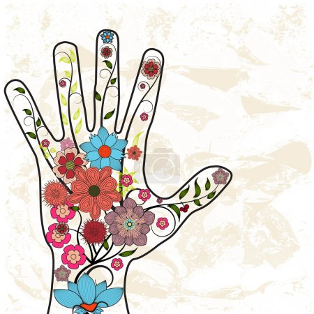 Illustration for Hand with painted flowers background - Royalty Free Image