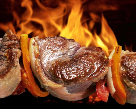 Photo for Barbecue on flaming hot - Royalty Free Image