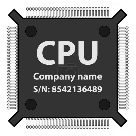 Illustration for CPU chip - illustration for the web - Royalty Free Image