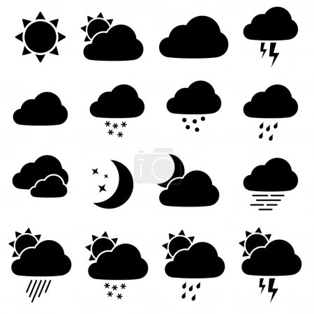 Illustration pour Icônes météo - illustration pour le web - image libre de droit