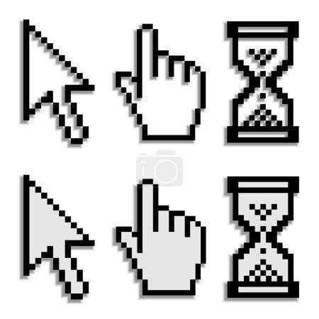 Illustration pour Curseurs pixel avec ombre floue réelle - illustration pour le web - image libre de droit