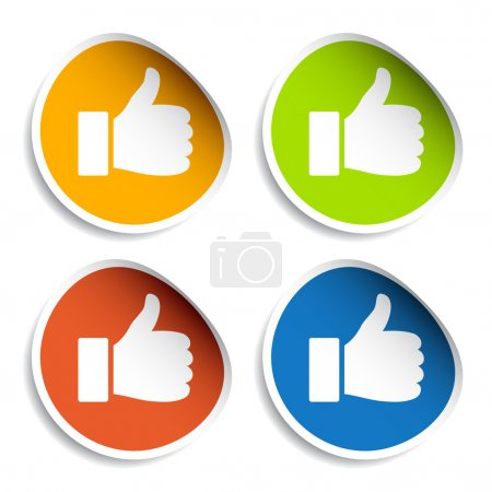 Illustration for Thumb up stickers - illustration for the web - Royalty Free Image