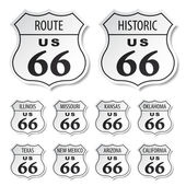 Route 66 black and white stickers - illustration for the web