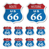 Route 66 colored stickers - illustration for the web