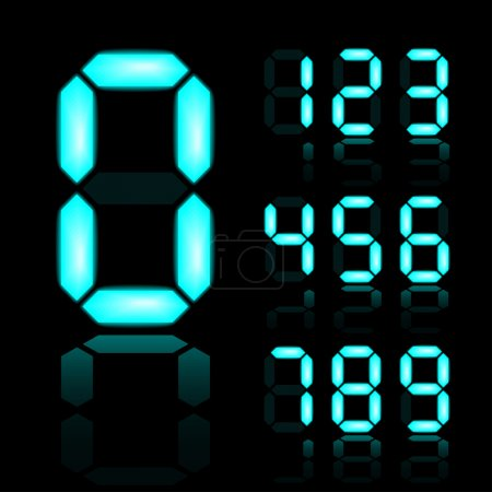 blue glowing digital numbers