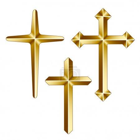 Golden christian crosses - illustration for the we...