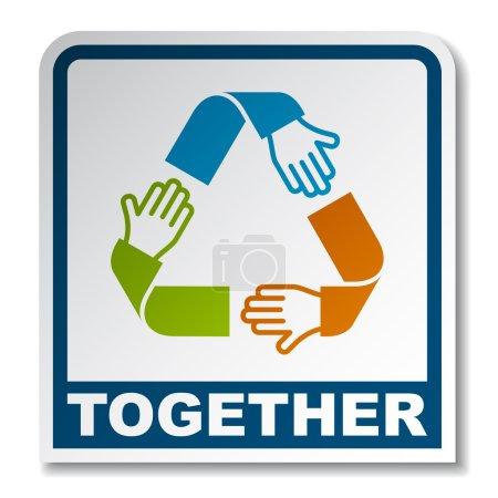 together circular hands sticker