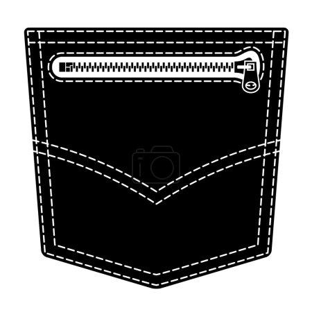 zipper jeans pocket black symbol