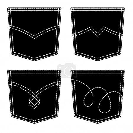 jeans pocket black symbols