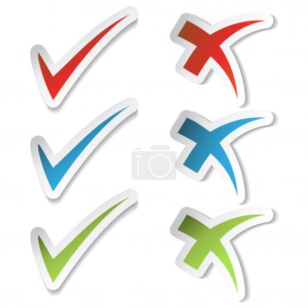 Illustration for Vector check mark stickers - illustration - Royalty Free Image