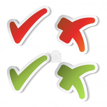 Vector check mark stickers - illustration...