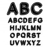 Vector black and white sewn font alphabet - illust...