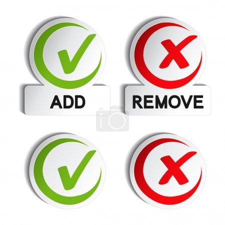 Illustration pour Vecteur ajouter supprimer élément circulaire - illustration - image libre de droit
