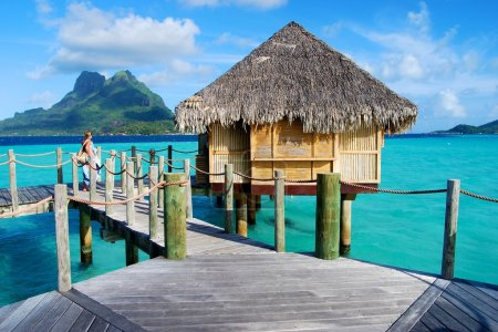 Cabin on the water, overwater.