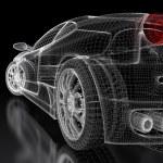 Sport car model on a black background. 3d rendered...