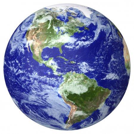 Photo pour Carte des nuages du globe terrestre. Côté nord et sud de l'Amérique - image libre de droit