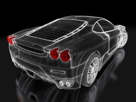 Photo for Sport car model on a black background. 3d rendered image - Royalty Free Image