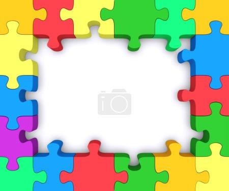 Photo pour Beau cadre fait de morceaux de puzzles colorés . - image libre de droit