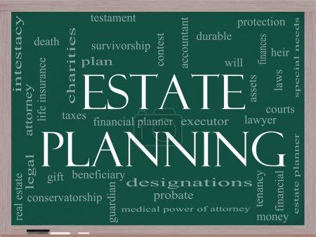 Estate Planning Word Cloud Concept on a Blackboard