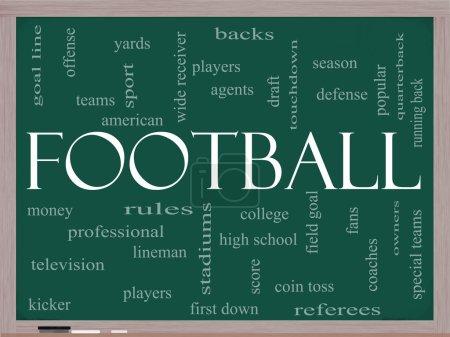 Football Word Cloud Concept on a Blackboard