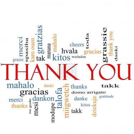 Photo pour Merci Word Cloud Concept avec de grands termes dans différentes langues telles que merci, mahalo, danke, gracias, kitos et plus . - image libre de droit