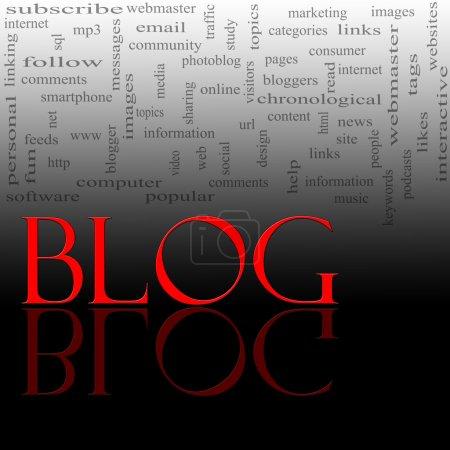 Photo pour Un concept nuage mot pour le mot Blog écrit en rouge avec une réflexion contre les mots noirs et grands concepts en arrière-plan tels que Internet, aide, ordinateur et plus . - image libre de droit