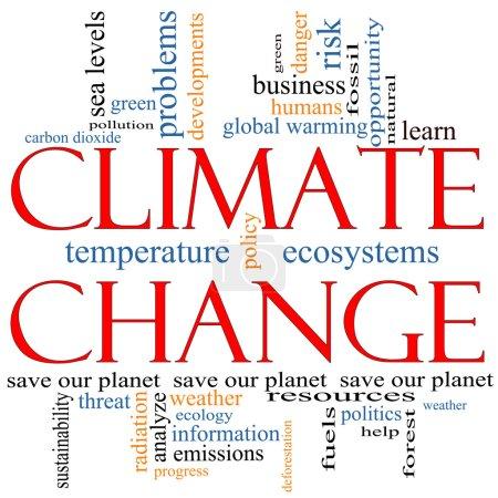 Photo pour Un concept de nuage de mots de changement climatique avec des termes tels que sauver, planète, planétaire, réchauffement, vert, pollution et plus encore . - image libre de droit