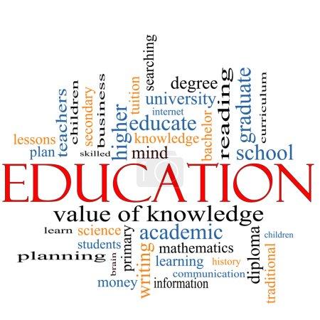 Photo pour Un concept nuage de mots autour du mot Éducation avec de grands termes tels que diplôme, diplôme, université, lecture et plus . - image libre de droit