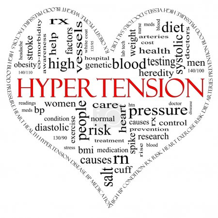 Photo for A black and red heart shaped word cloud concept around the word Hypertension including words such as reading, control, doctor, rx and more. - Royalty Free Image