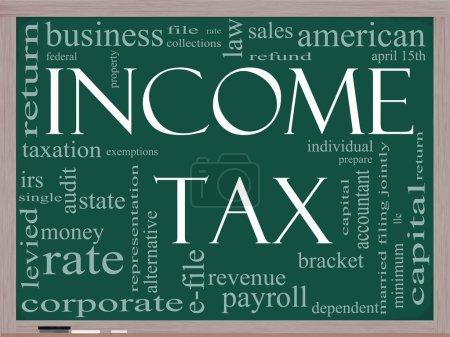 Foto de Un concepto de nube palabra alrededor de impuesto sobre la renta de palabras en una pizarra con grandes términos tales como abril, reembolso, velocidad, soporte, archivo, preparar y más - Imagen libre de derechos