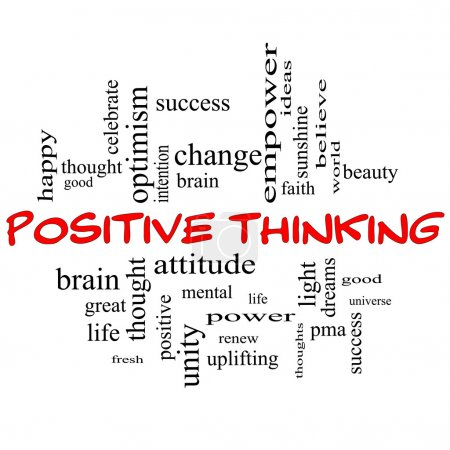 Photo pour Concept de nuage de mot pensée positive en majuscules rouges avec des grands termes comme bonne, mentale, pensée, vie, optimisme, etc. - image libre de droit