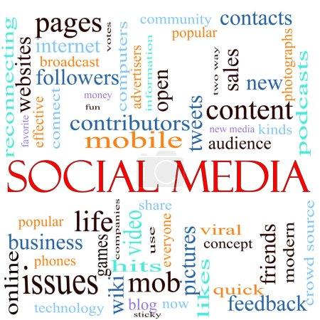Foto de Una ilustración en torno a las palabras Redes Sociales con muchos términos diferentes, como sitios web, contribuyentes, móviles, tweets, páginas, comunidad, me gusta, blog, tipos, comentarios, amigos y mucho más . - Imagen libre de derechos