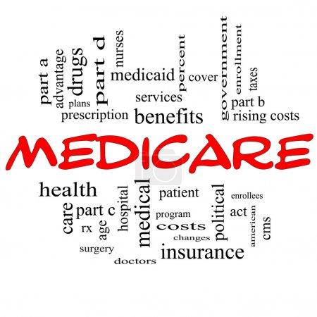 Photo pour Medicare Word Cloud Concept en lettres majuscules rouges avec de grands termes tels que avantage, santé, soins, hôpital, impôt, inscription, partie d et plus - image libre de droit
