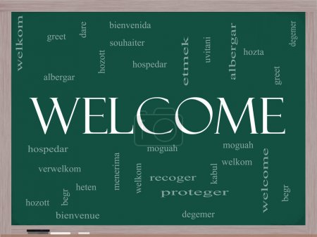 Welcome Word Cloud Concept on a Blackboard with We...