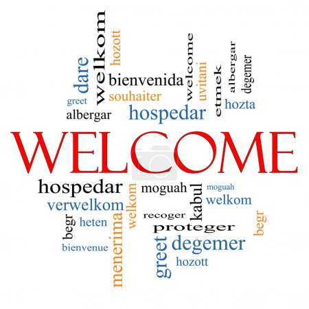 Welcome Word Cloud Concept with Welcome greetings ...