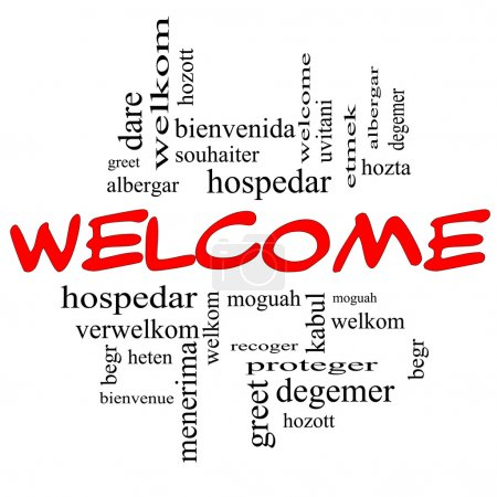 Photo pour Bienvenue la notion de nuage de mot en lettres rouges et noires avec les salutations de bienvenue dans différents langages tels que hozta, welkom, begr, bienvenida et plus. - image libre de droit