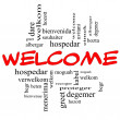 Welcome Word Cloud Concept in red and black letter...