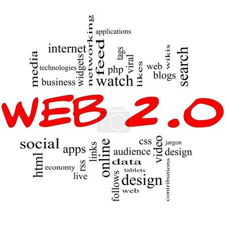 concept Web 2.0 mot nuage rouge & noir